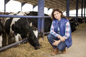 Young farmer posing in animal farm