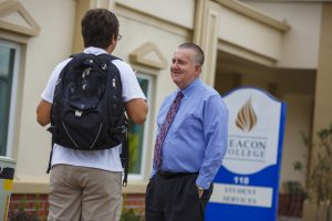 President Hagerty and Beacon Student